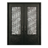 Escon 1-Panel Insulating Core 3/4 Lite Left-Hand Inswing Bronze Iron Painted Prehung Entry Door (Common: 74-in x 96-in; Actual: 73.5-in x 96-in)