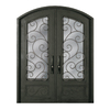 Escon 1-Panel Insulating Core 3/4 Lite Left-Hand Inswing Bronze Iron Painted Prehung Entry Door (Common: 64-in x 96-in; Actual: 64-in x 96-in)