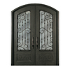 Escon 1-Panel Insulating Core 3/4 Lite Right-Hand Inswing Bronze Iron Painted Prehung Entry Door (Common: 64-in x 96-in; Actual: 64-in x 96-in)
