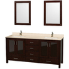 Wyndham Collection Lucy Espresso Undermount Double Sink Oak Bathroom Vanity with Natural Marble Top (Common: 72-in x 23-in; Actual: 72-in x 22.75-in)