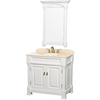 Wyndham Collection Andover White Undermount Single Sink Oak Bathroom Vanity with Natural Marble Top (Common: 36-in x 23-in; Actual: 36-in x 23-in)