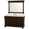 Wyndham Collection Andover Dark Cherry Undermount Single Sink Oak Bathroom Vanity with Natural Marble Top (Common: 60-in x 23-in; Actual: 60-in x 23-in)