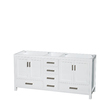 Wyndham Collection Sheffield White Transitional Bathroom Vanity (Common: 72-in x 22-in; Actual: 70.75-in x 21.5-in)