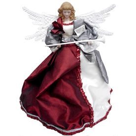 Holiday Living 16-1/4-in Fabric Red and Silver Angel Christmas Tree Topper