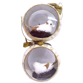Holiday Living 2-Pack White and Cream Plastic Snowbird Ornaments