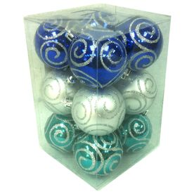 Holiday Living 12-Pack Multicolor Shatterproof Swirl Ornaments