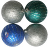 Holiday Living 4-Pack Multicolor Plastic Shatterproof Glitter Ornaments