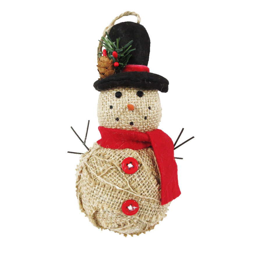 Shop holiday living tan red black burlap snowman for Snowman made out of burlap
