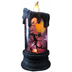 7.5-in Lighted Animatronic Tabletop LED Candle with Scenes Purple Indoor Halloween Decoration