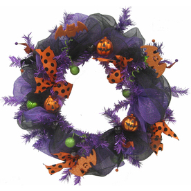 Holiday Living 24-in Purple Wreath Scotch Pine Unlit Artificial Halloween Wreath