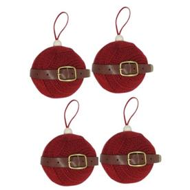 Holiday Living 4-Pack Red with Brown Accent Ornament Set