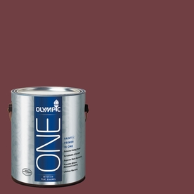 Olympic Gallon Interior Flat Enamel Brown Paint and Primer in One