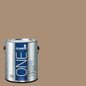 Olympic ONE 116-fl oz Interior Flat Enamel Sauteed Mushroom Latex-Base Paint and Primer in One