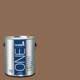 Olympic ONE Caravel Brown Flat Latex Interior Paint and Primer In One (Actual Net Contents: 114-fl oz)