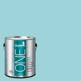 Olympic Gallon Interior Satin Aqua Paint and Primer in One