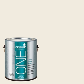 Olympic ONE Candlelit Beige Satin Latex Interior Paint and Primer In One (Actual Net Contents: 124-fl oz)