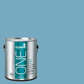 Olympic ONE 116 Fluid Ounce(S) Interior Satin Serene Sea Paint and Primer In One