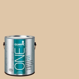 Olympic ONE Vanilla Brandy Satin Latex Interior Paint and Primer In One (Actual Net Contents: 124-fl oz)