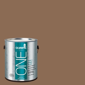 Olympic ONE 114 Fluid Ounce(S) Interior Satin Caravel Brown Paint and Primer In One