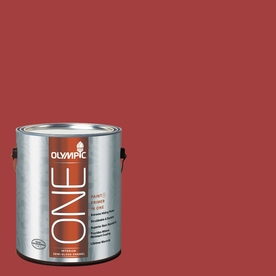 Olympic ONE 114 Fluid Ounce(S) Interior Semi-Gloss Red Gumball Paint and Primer In One
