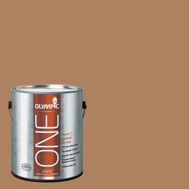 Olympic ONE Bronco Brown Semi-Gloss Latex Interior Paint and Primer In One (Actual Net Contents: 114-fl oz)