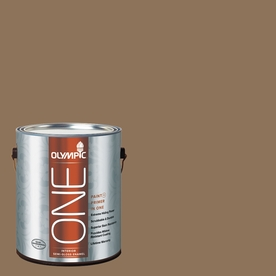 Olympic ONE Hat Box Brown Semi-Gloss Latex Interior Paint and Primer In One (Actual Net Contents: 114-fl oz)