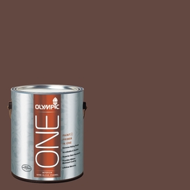 Olympic Gallon Interior Semi-Gloss Brown Paint and Primer in One