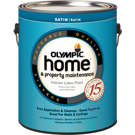 Olympic White Satin Latex Interior Paint (Actual Net Contents: 124 Fluid Oz.)