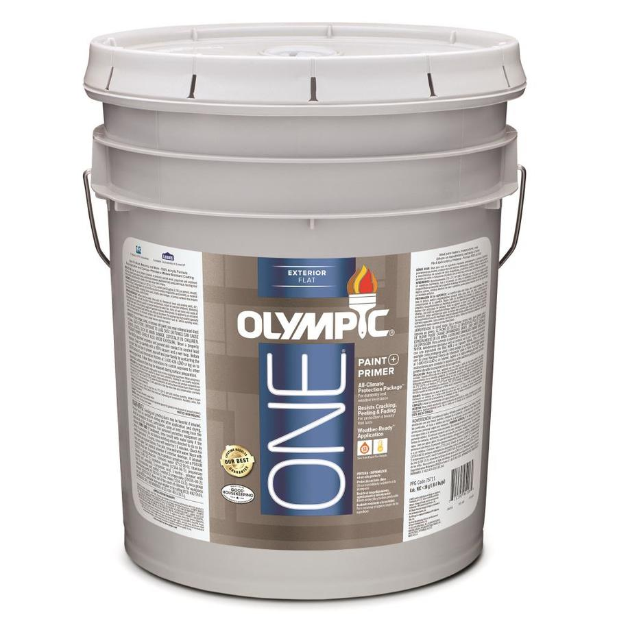 Shop olympic one 5 gallon size container exterior flat for Exterior paint satin 5 gal