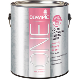 Olympic ONE Color Changing Ceiling Paint Ultra White Flat Latex Interior Paint and Primer In One (Actual Net Contents: 128-fl oz)