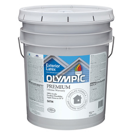 Shop Olympic 5 Gallon Size Container Exterior Satin Tintable White Latex Base Paint Actual Net