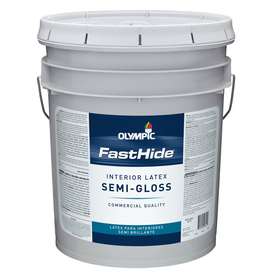 FastHide 5-Gallon Interior Semi-Gloss White Latex-Base Paint