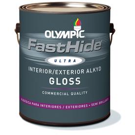 FastHide 1-Gallon Interior/Exterior Gloss White Oil-Base Paint