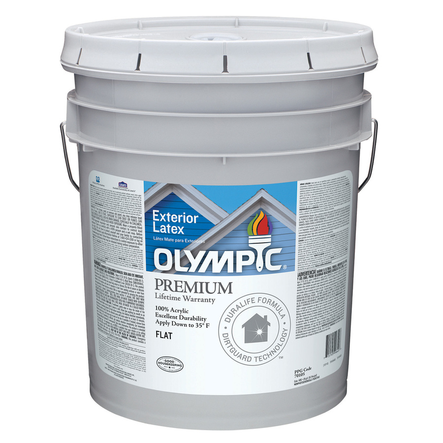 Shop Olympic 5 Gallon Size Container Exterior Flat Tintable White Latex Base Paint Actual Net