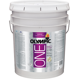 Olympic ONE 5-Gallon Interior Eggshell True White Paint and Primer in One