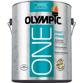 Olympic ONE Gallon Interior Satin True White Paint and Primer in One