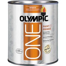 Olympic ONE ONE 31 Fluid Ounce(s) Interior Semi-Gloss White Paint  and Primer In One