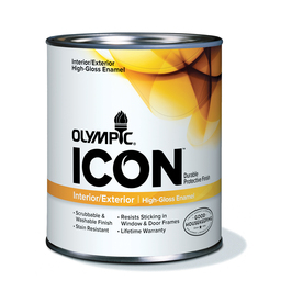 Olympic Quart Size Container Interior High-Gloss Tintable White Latex-Base Paint (Actual Net Contents: 31-fl oz)