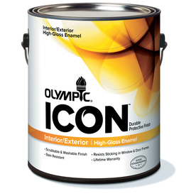 Olympic Gallon Size Container Interior High-Gloss Tintable White Latex-Base Paint (Actual Net Contents: 114-fl oz)