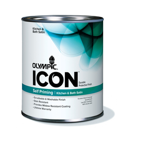 Olympic Quart Size Container Interior Satin Kitchen and Bath Tintable White Latex-Base Paint (Actual Net Contents: 28-fl oz)