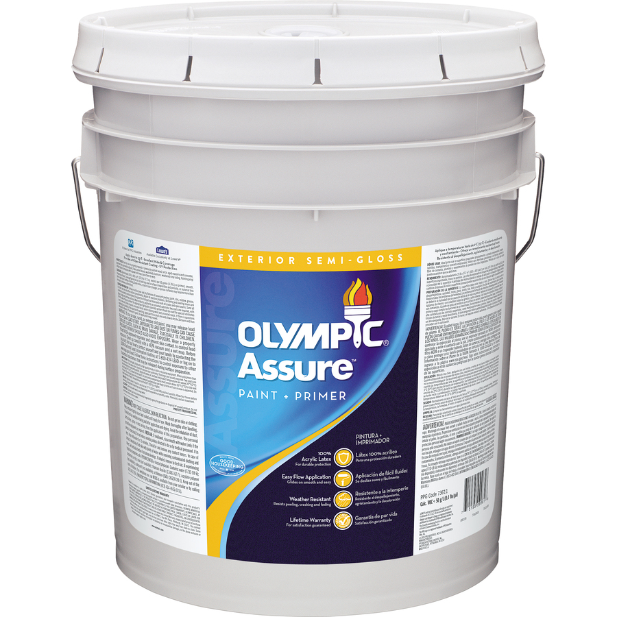 Shop Olympic Icon 5 Gallon Size Container Exterior Semi Gloss Tintable White Latex Base Paint