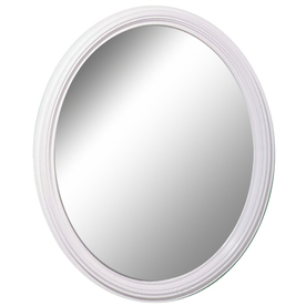 Style Selections 25-in x 31-in White Oval Framed Mirror