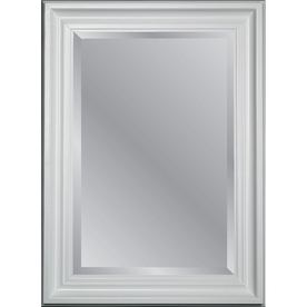 allen + roth 31.75-in x 43.75-in White Beveled Rectangle Framed Country Wall Mirror