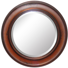allen + roth 32-in x 32-in Warm Distressed Chestnut Round Framed Mirror