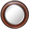 allen + roth 32-in x 32-in Warm Distressed Chestnut Round Framed Wall Mirror