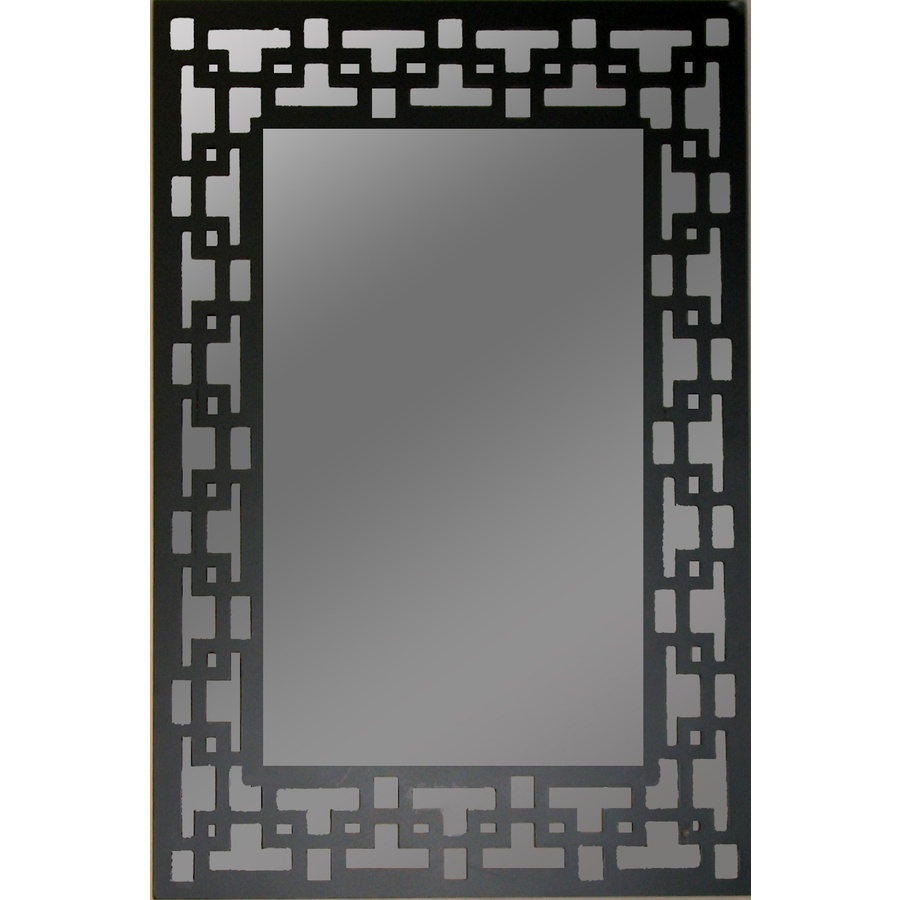 Shop gardner glass products 36 in x 24 in black rectangle for Black wall mirror