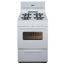 Premier Freestanding 2.9-cu ft Gas Range (White On White) (Common: 24; Actual: 24-in)