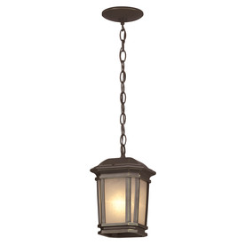 Portfolio Corrigan 7-in W Dark Brass Pendant Light with Frosted Shade