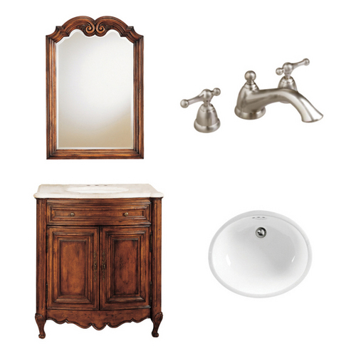 "Zoomed: American Standard 21-1/4"" Aged Chestnut Bordaux Bath Vanity with Top"