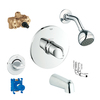GROHE Veris Starlight Chrome 2-Handle Bathtub and Shower Faucet with Single Function Showerhead